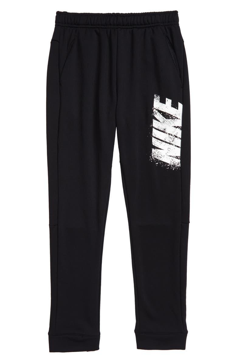 NIKE Dry Fleece Sweatpants, Main, color, BLACK/ WHITE