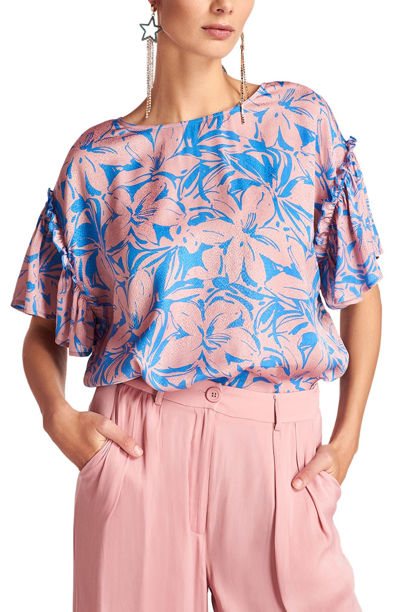 Women's Essential Antwerp Floral Ruffle Sleeve Top