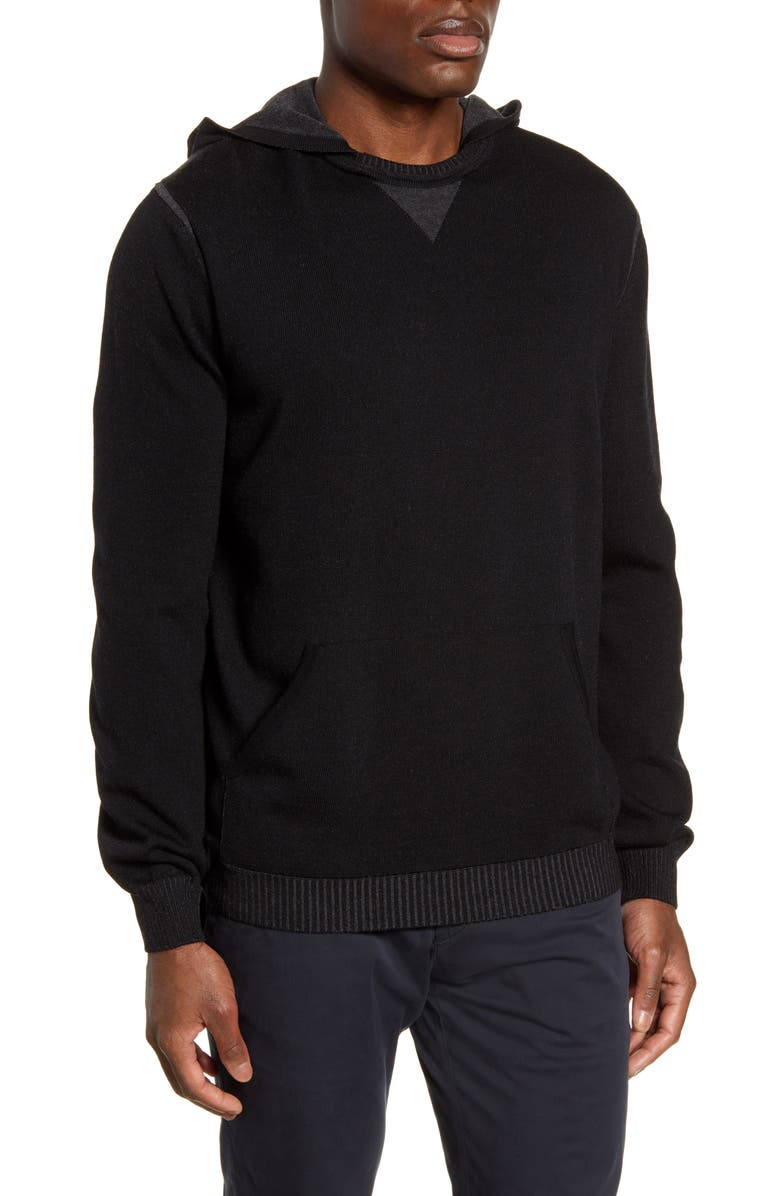 BUGATCHI Hooded Pullover Sweater, Main, color, CAVIAR