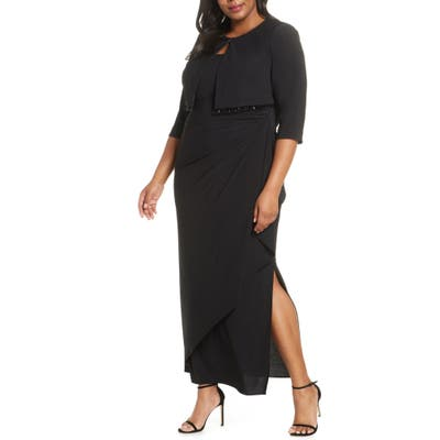 Plus Size Alex Evenings Side Ruched Evening Gown With Bolero, Black