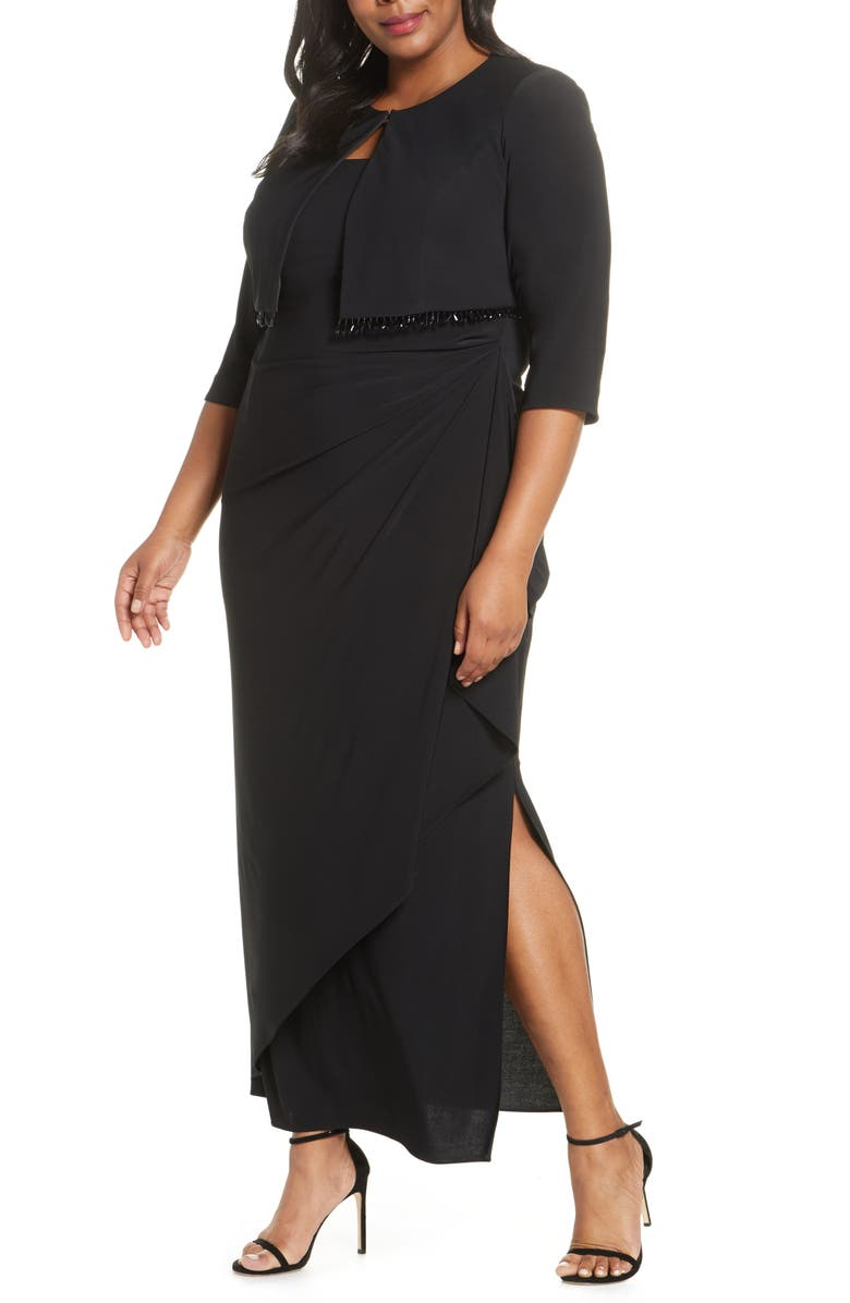 Alex Evenings Side Ruched Evening Gown with Bolero (Plus ...