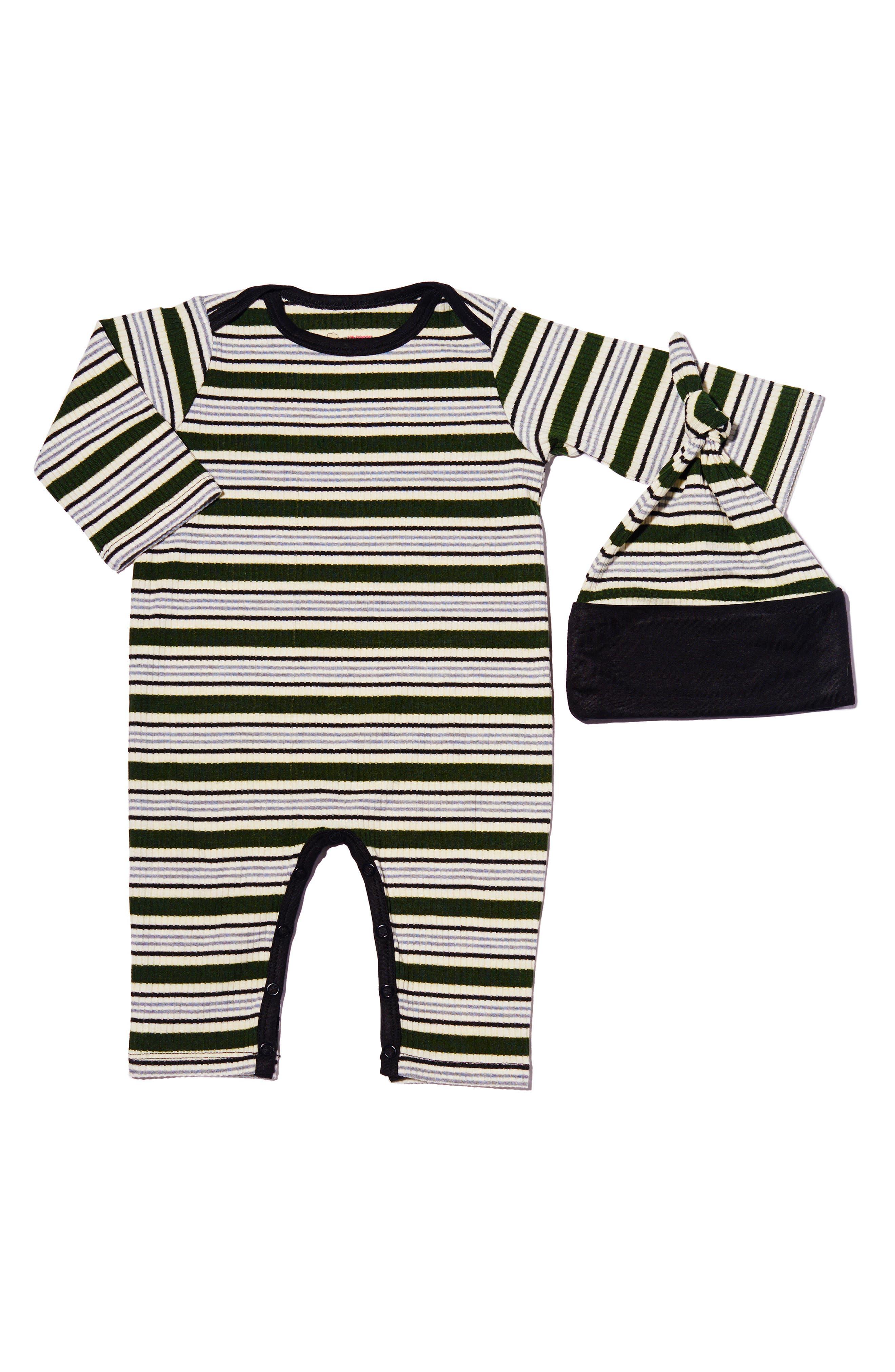 Infant Boys Baby Grey Ribbed Romper  Hat Set