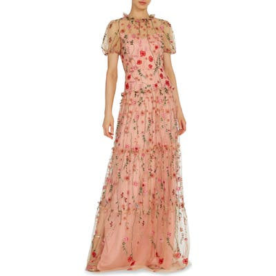 Ml Monique Lhuillier Floral Embroidered A-Line Gown, Pink