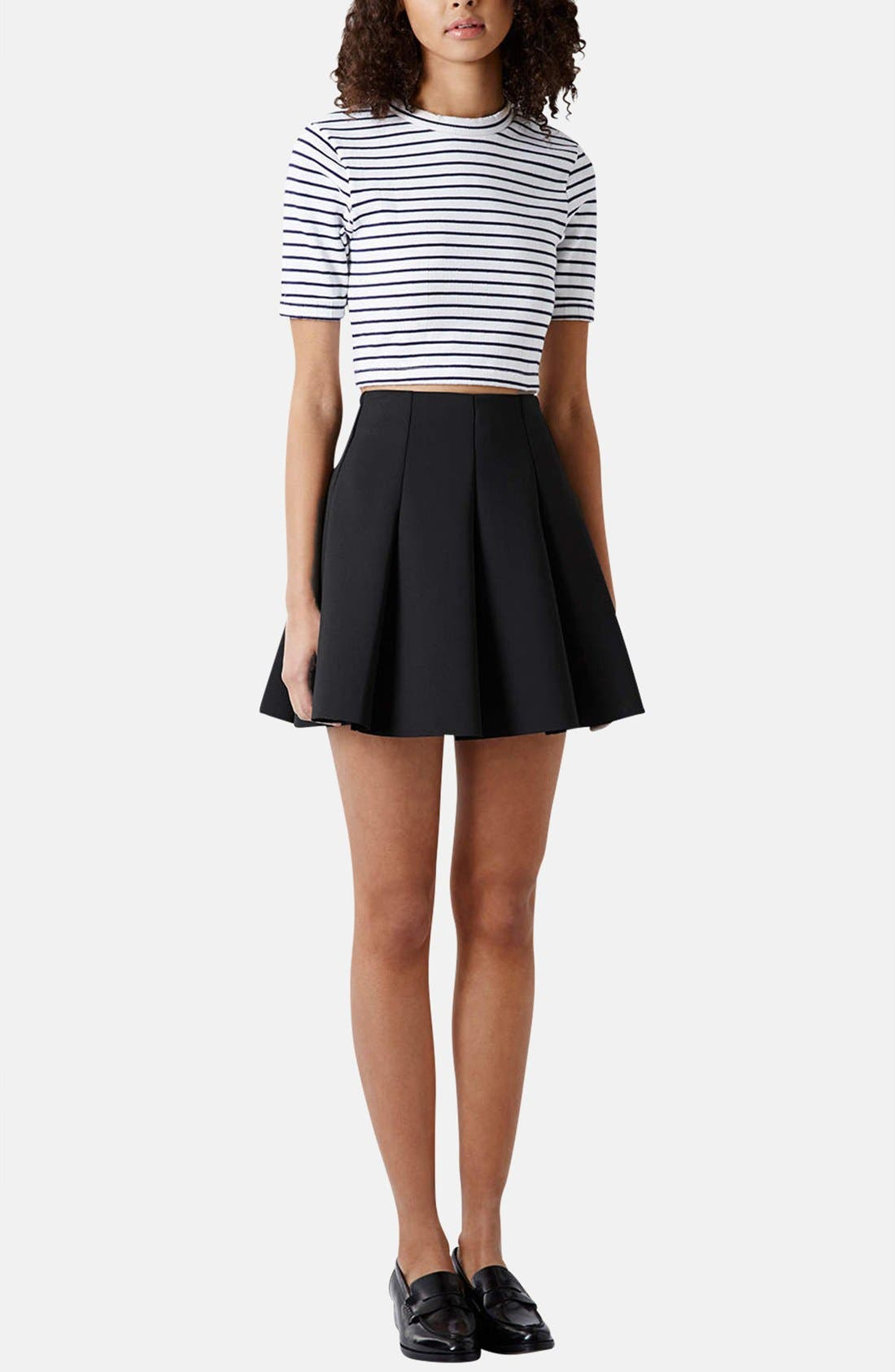 ,                             Pleated Scuba Skirt,                             Alternate thumbnail 3, color,                             001