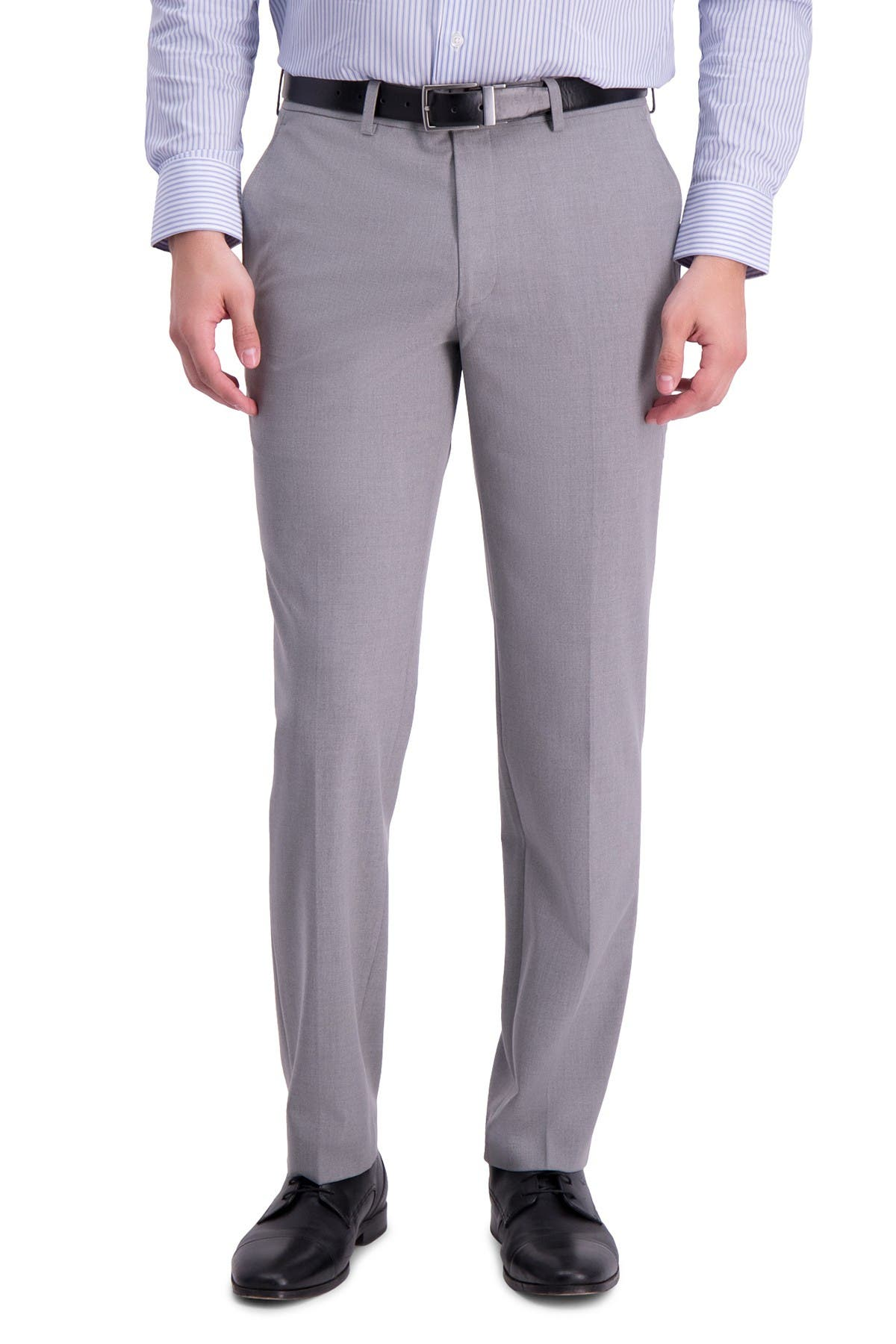 Image of Louis Raphael Solid Flat Front Skinny Fit Dress Pants