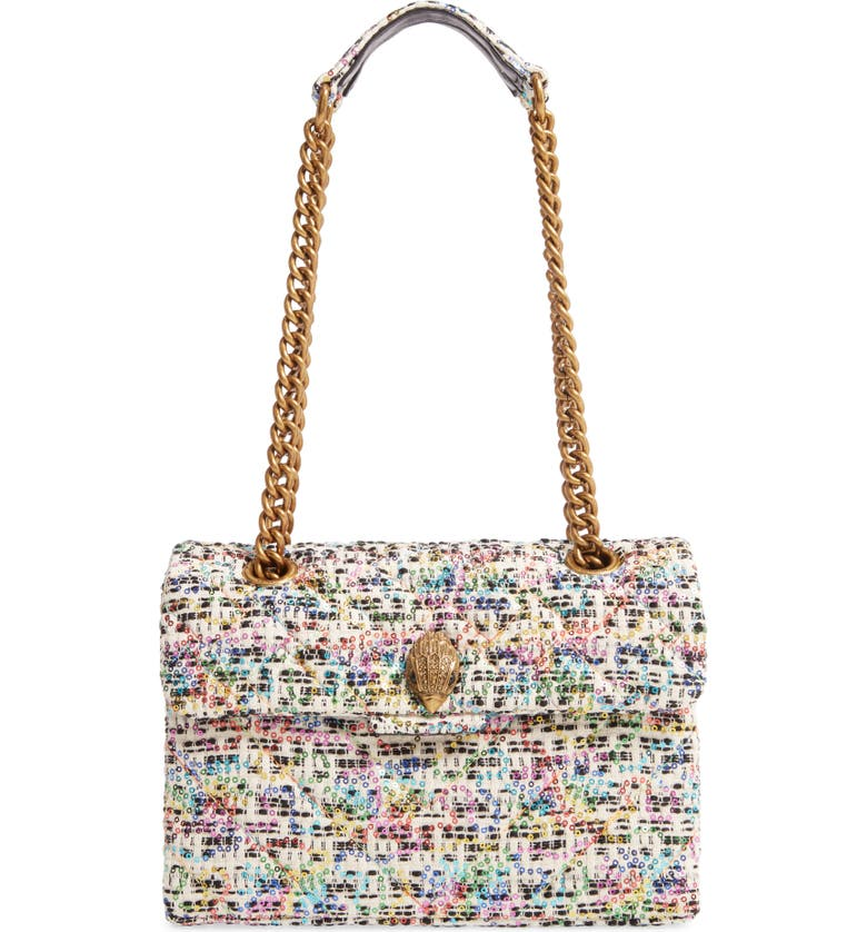 KURT GEIGER LONDON Kensington Tweed Shoulder Bag, Main, color, WHITE/ OTHER