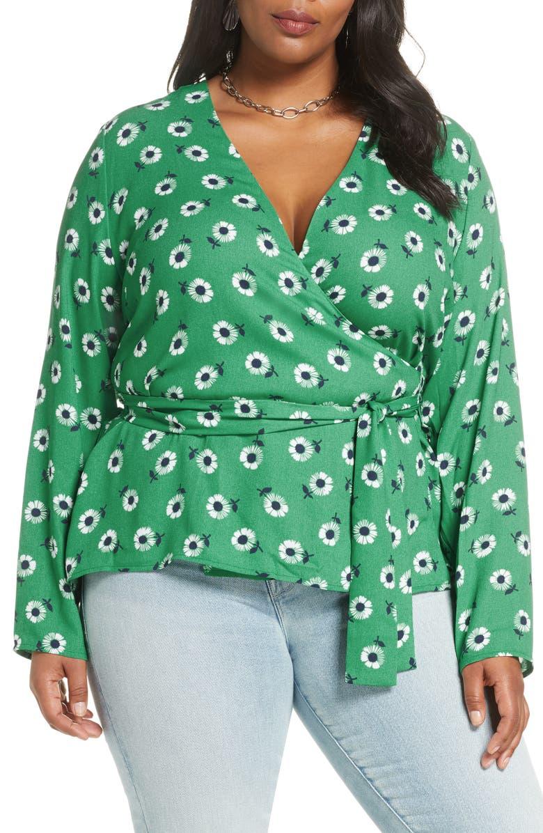 HALOGEN<SUP>®</SUP> Long Sleeve Wrap Blouse, Main, color, GREEN DAISY PRINT