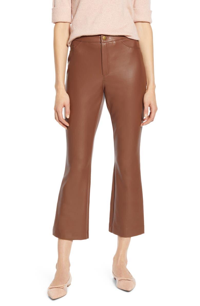 HALOGEN<SUP>®</SUP> x Atlantic-Pacific Crop Flare Faux Leather Pants, Main, color, 210