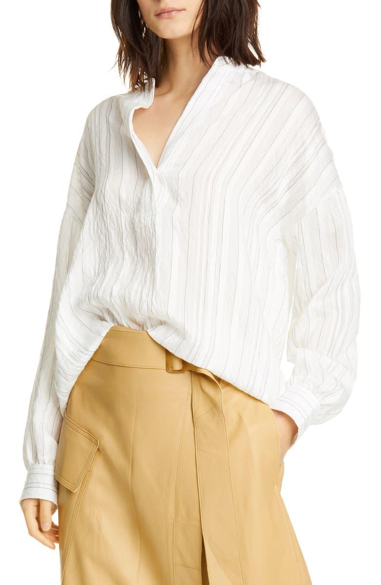 VINCE Stripe Split Neck Blouse, Main, color, OPTIC WHITE