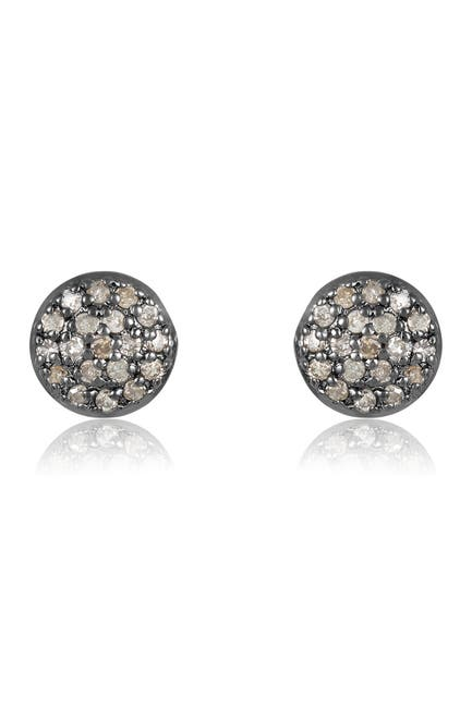 Image of ADORNIA Fine Black Rhodium Plated Sterling Silver Pave Diamond Disc Stud Earrings - 0.25 ctw