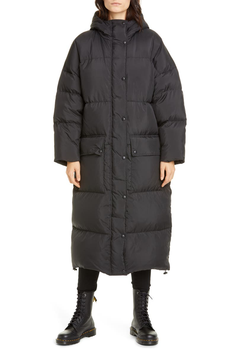 STAND STUDIO Ally Down Fill Puffer Coat, Main, color, BLACK