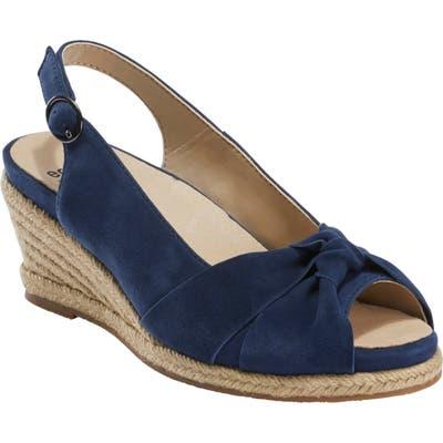 Earth Thara Bermuda Peep Toe Wedge Sandal- Blue