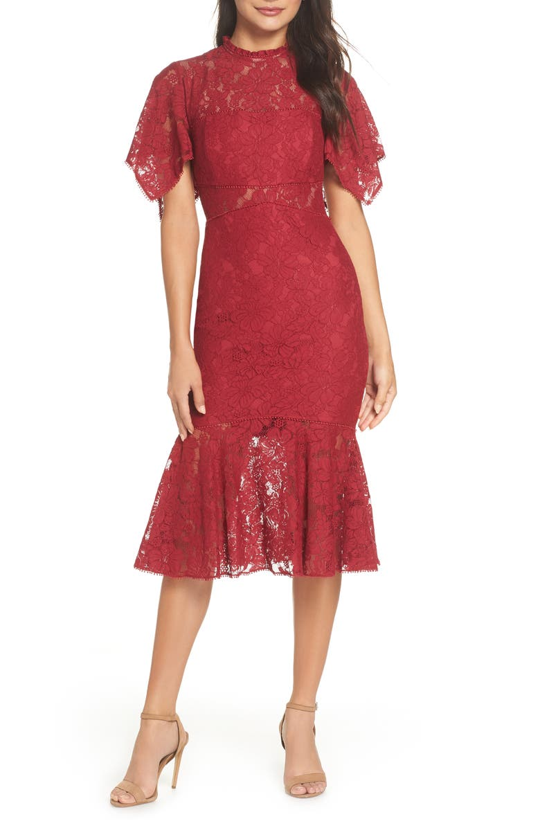 EVER NEW Floral Lace Sheath Dress, Main, color, BERRY DELIGHT