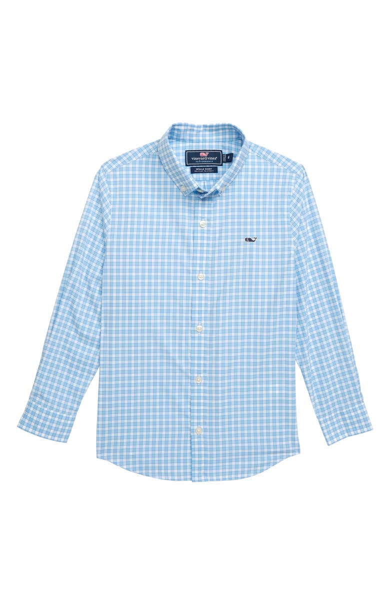 VINEYARD VINES Bermuda Check Performance Whale Shirt, Main, color, JAKE BLUE