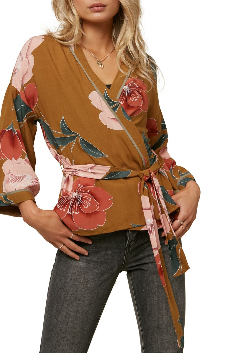 O'NEILL Embry Floral Print Wrap Jacket, Main, color, GOLD COAST