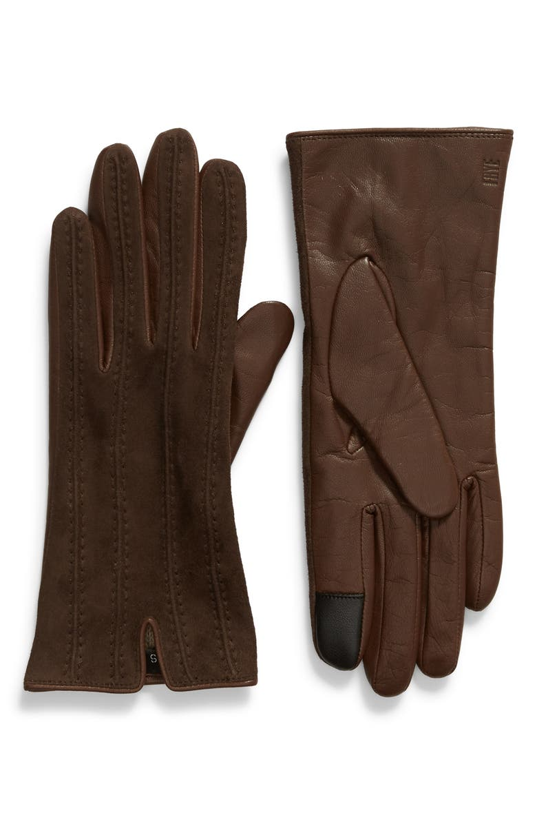FRYE Topstitched Leather Touchscreen Gloves, Main, color, MAHOGANY