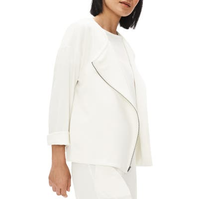 Petite Eileen Fisher Asymmetrical Zip Jacket, Ivory