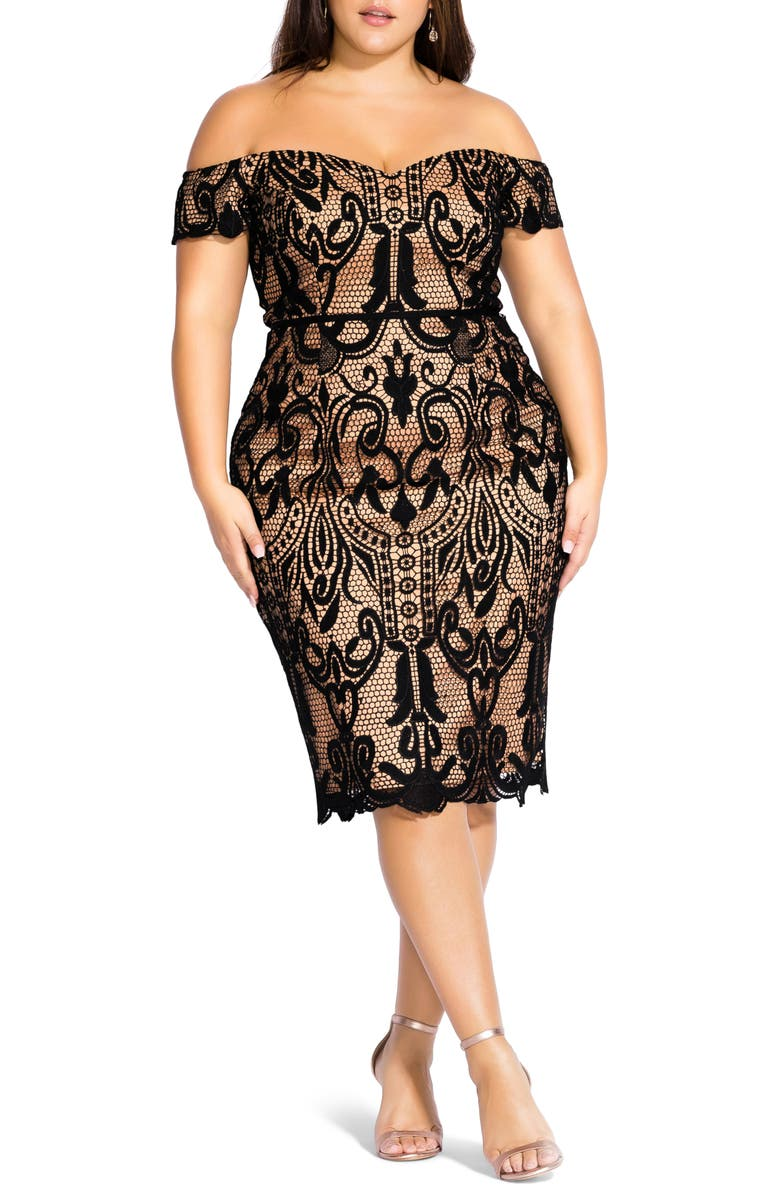 CITY CHIC Off the Shoulder Decadent Lace Cocktail Dress, Main, color, BLACK / NUDE
