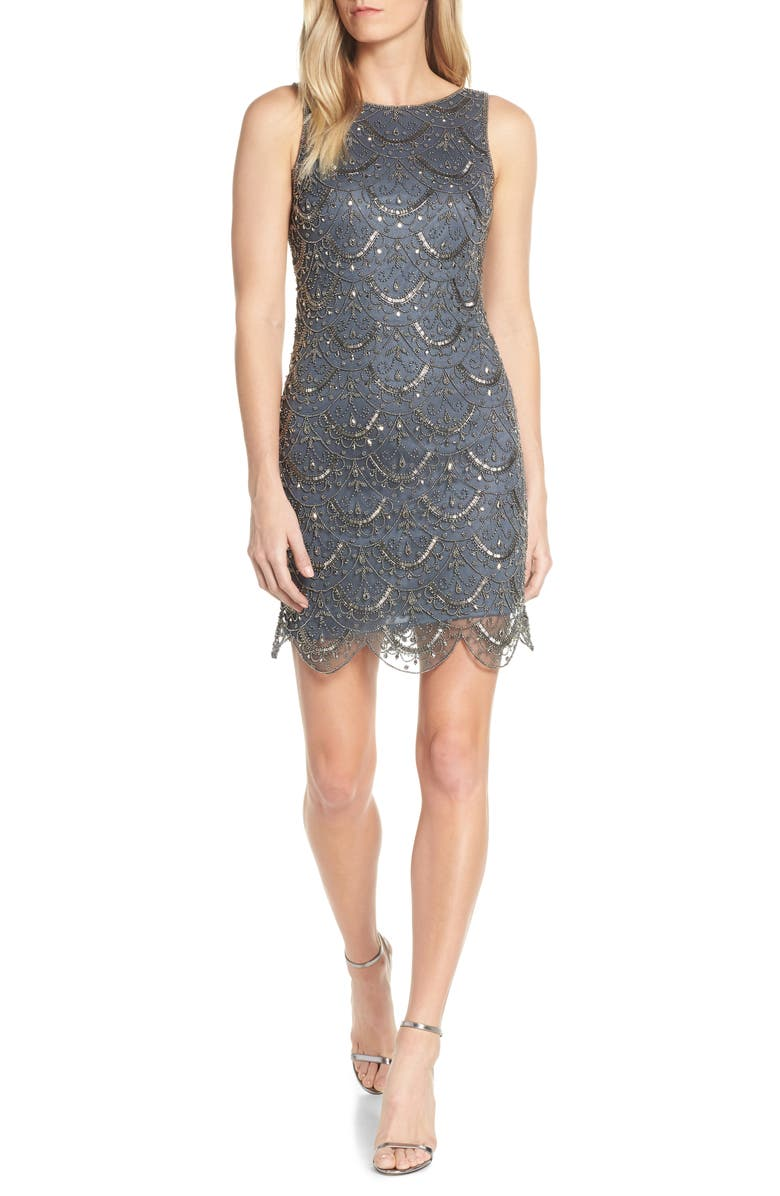 PISARRO NIGHTS Scallop Embellished Mesh Cocktail Dress, Main, color, SLATE