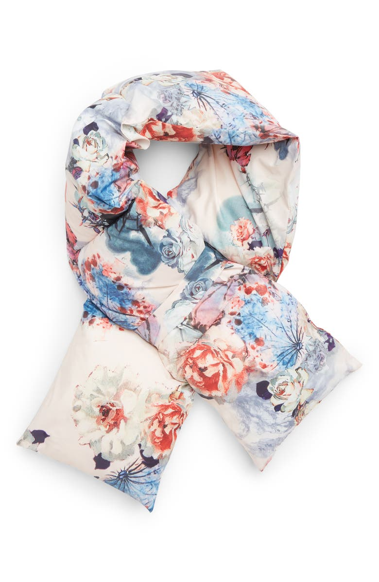 LEITH Floral Print Quilted Puffer Scarf, Main, color, 650