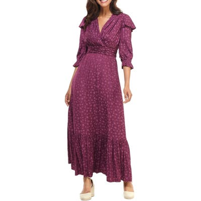 Gal Meets Glam Collection Cassandra Floral Jacquard Maxi Dress, Purple