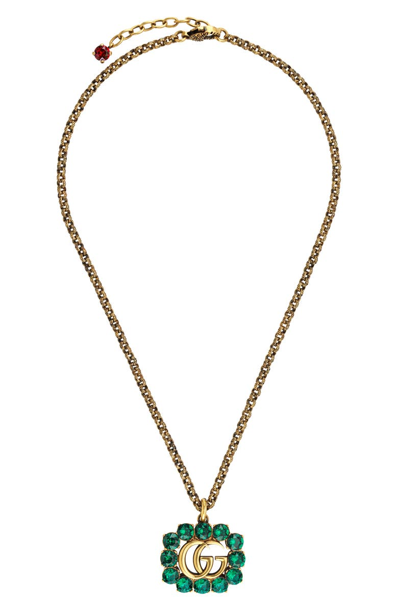 GUCCI Pendant Necklace, Main, color, GOLD/ GLASS