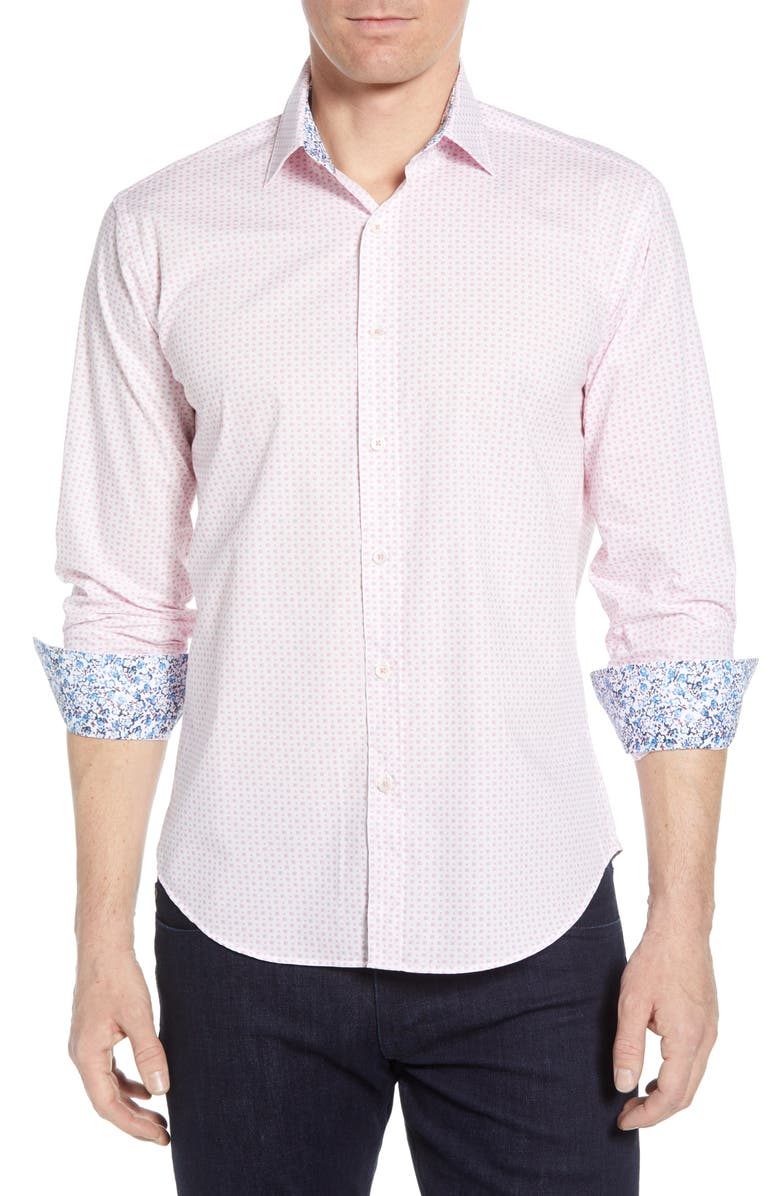 BUGATCHI Shaped Fit Dot Cotton Shirt, Main, color, PINK