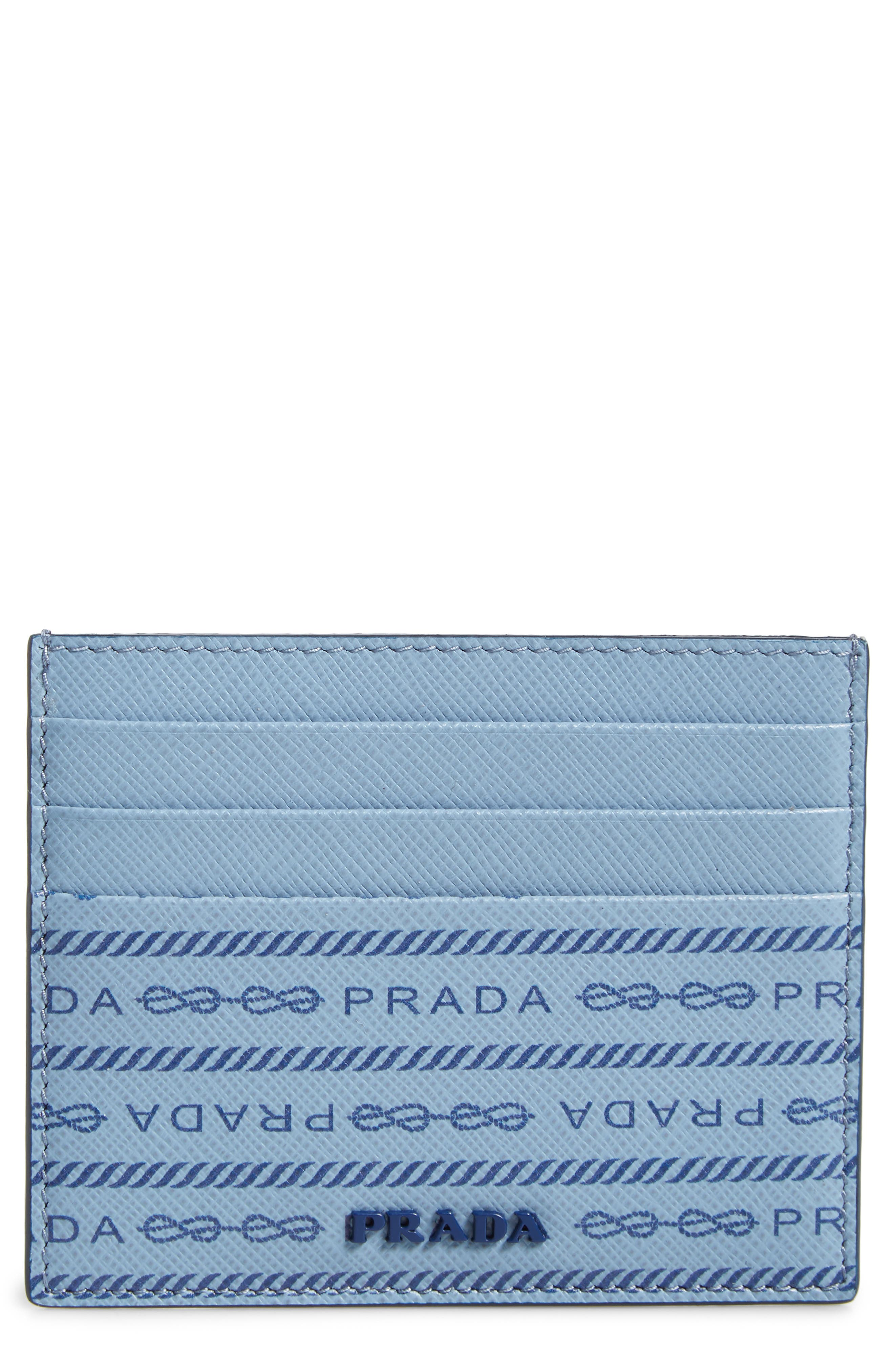 Repeating logos brand a slim card case made from crosshatch-textured calfskin leather. Style Name: Prada Logo Print Leather Card Case. Style Number: 5968445. Available in stores.
