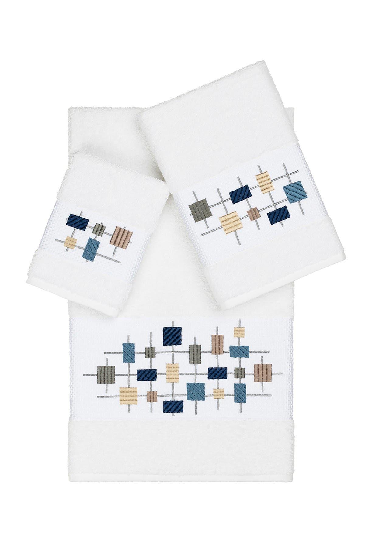 Image of LINUM HOME Khloe 3-Piece Embellished Towel Set - White