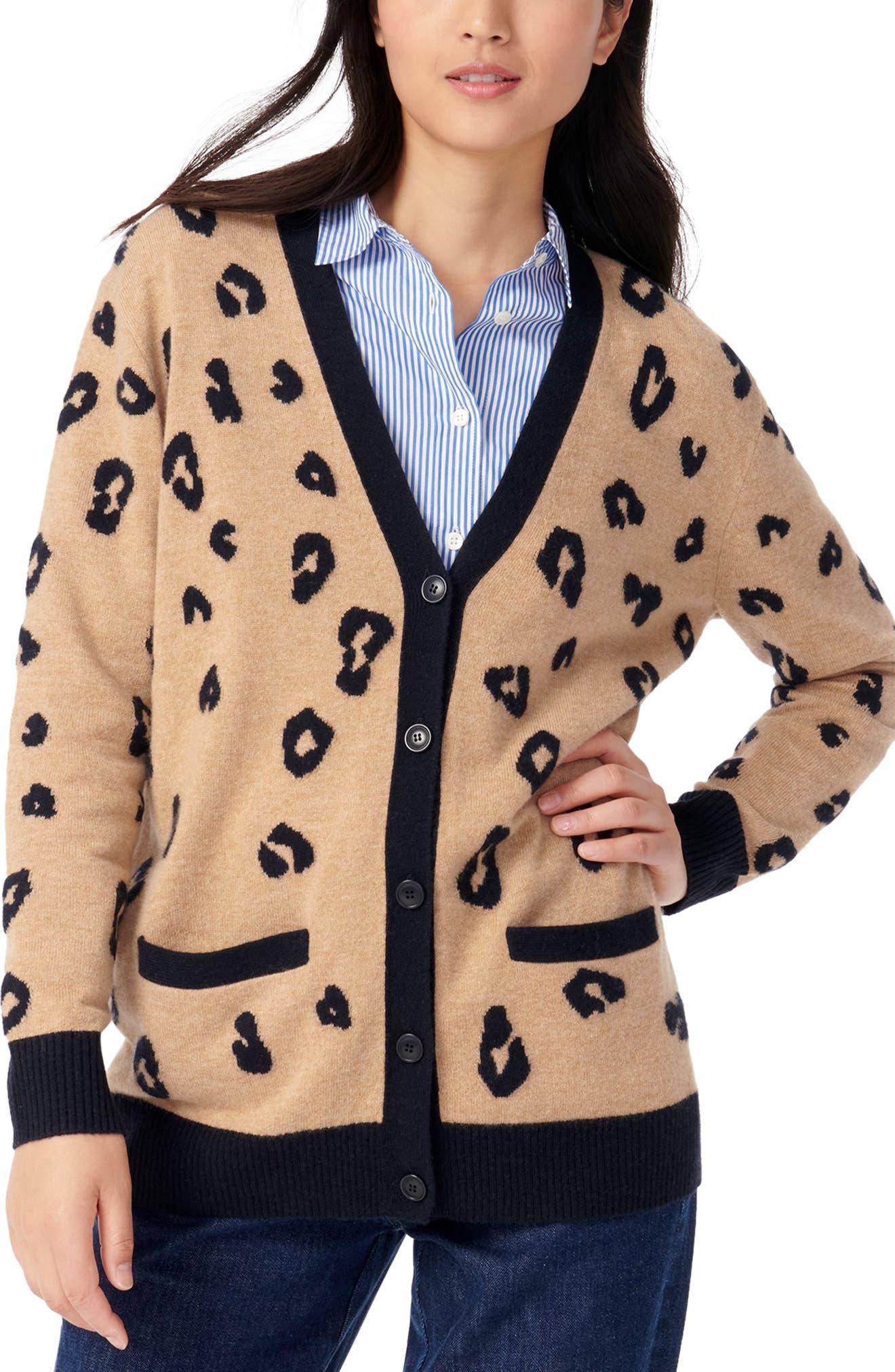 J.Crew Leopard Print Cashmere Boyfriend Cardigan | Nordstrom