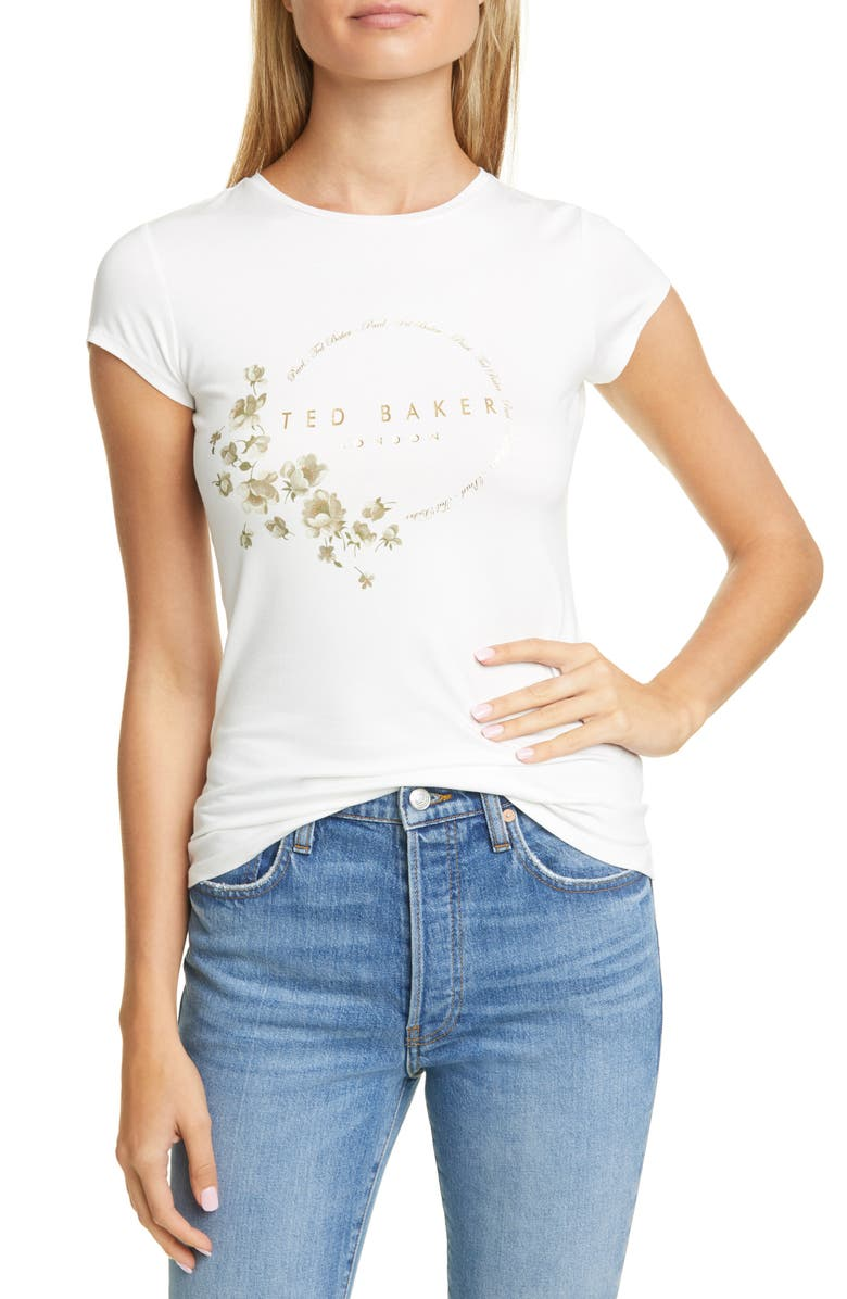 TED BAKER LONDON Pearl Print Fitted Tee, Main, color, IVORY