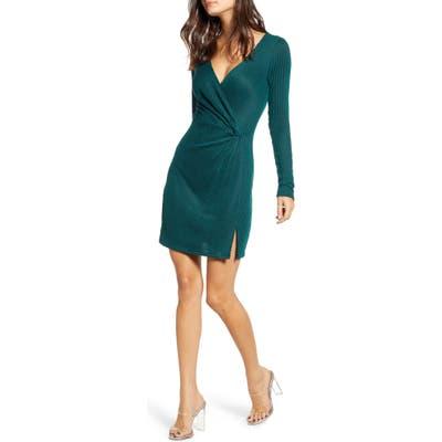 Row A Side Knot Ribbed Long Sleeve Minidress, Green