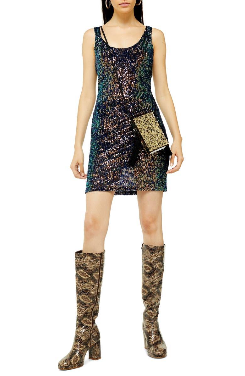 TOPSHOP Sequin Scoop Sleeveless Minidress, Main, color, 411