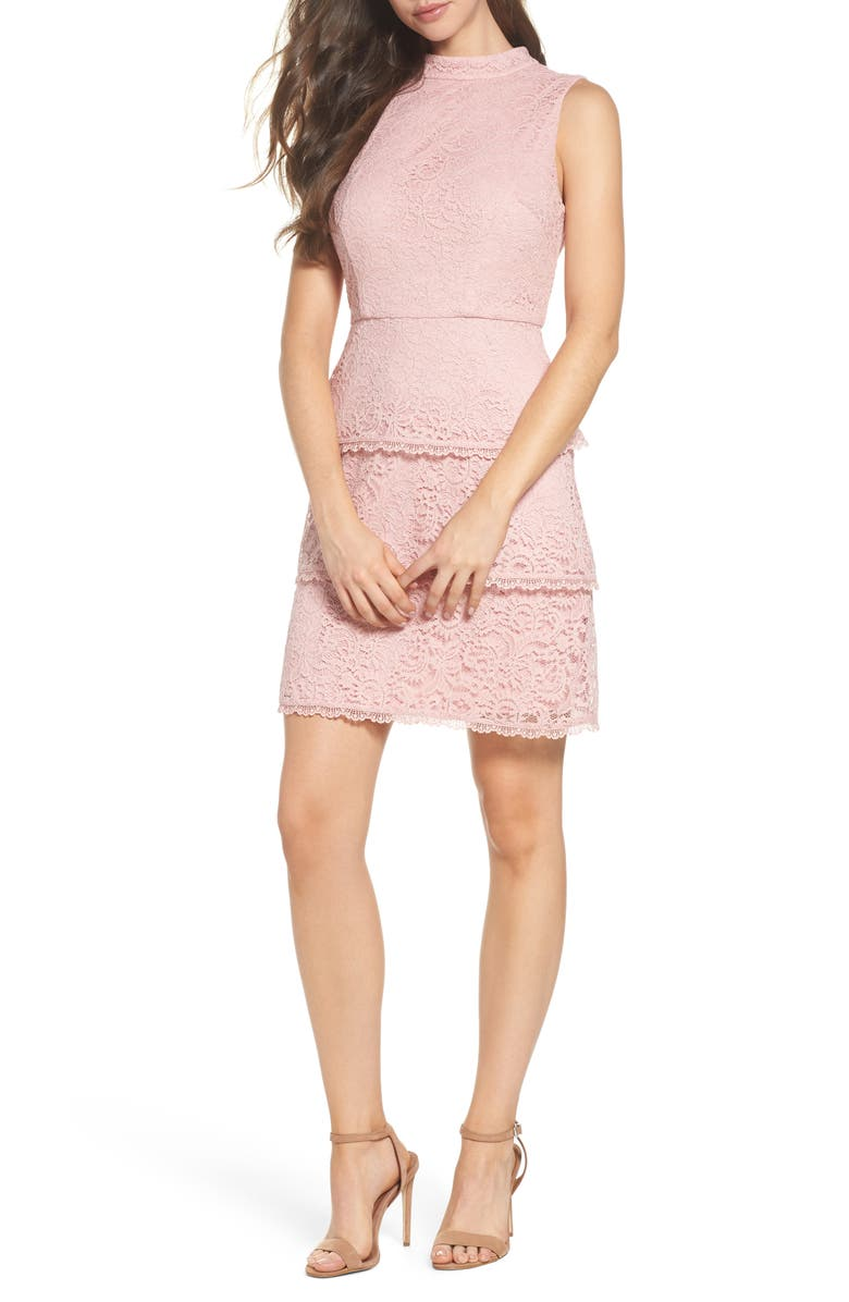 ADRIANNA PAPELL Sophia Tiered Lace Dress, Main, color, 500