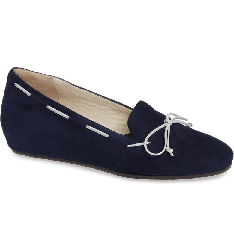 AMALFI BY RANGONI Varazze Laced Wedge Loafer, Main, color, NAVY SUEDE