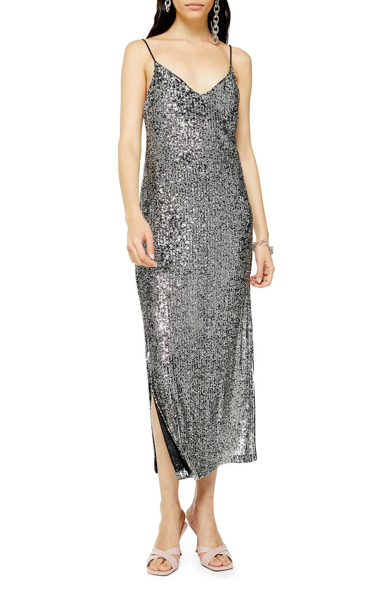 TOPSHOP Sequin Midi Dress, Main, color, 040