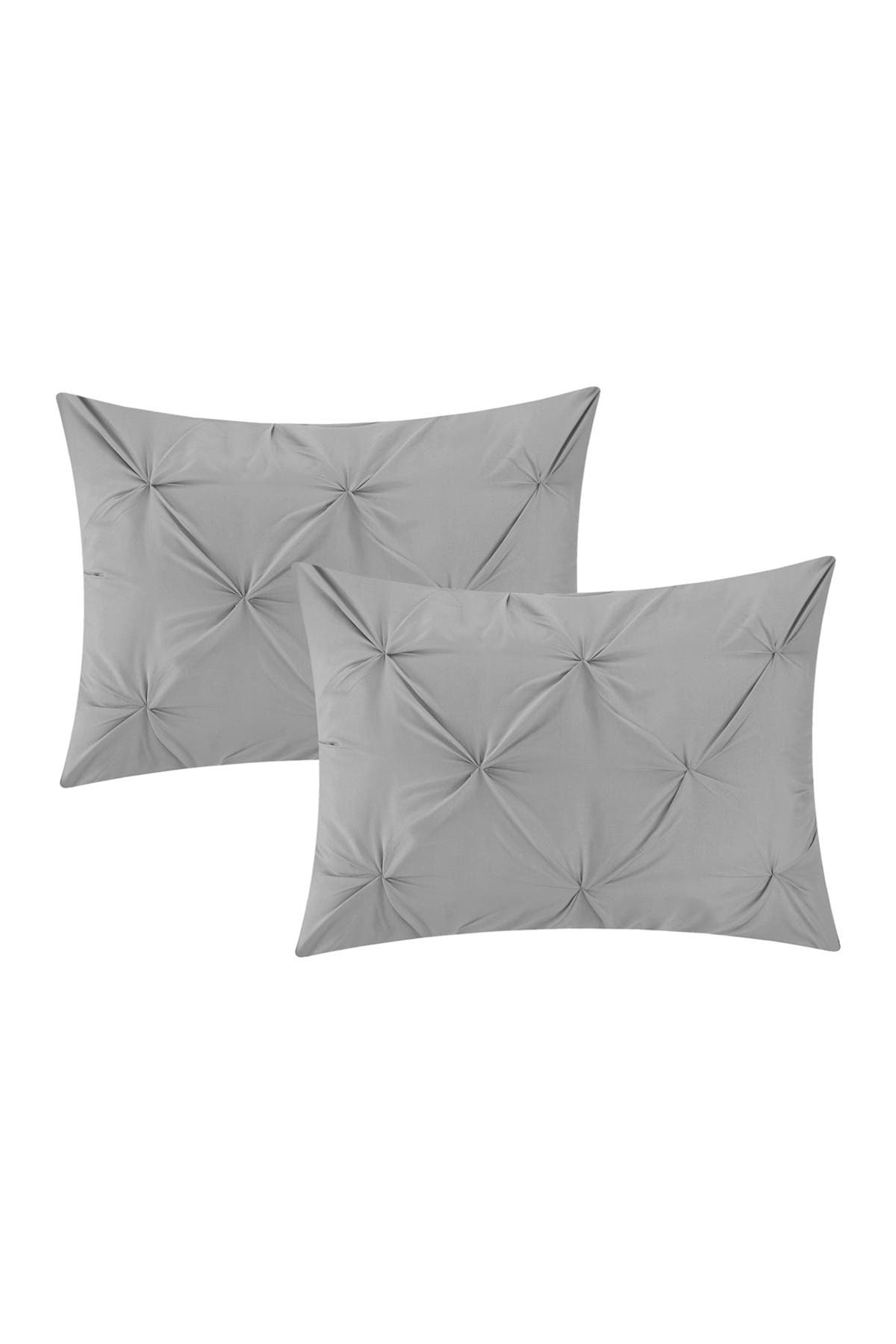 Image of Chic Home Bedding Salvatore Pinch Pleated, Ruffled & Pleated Complete Queen Comforter 10-Piece Set, Silver