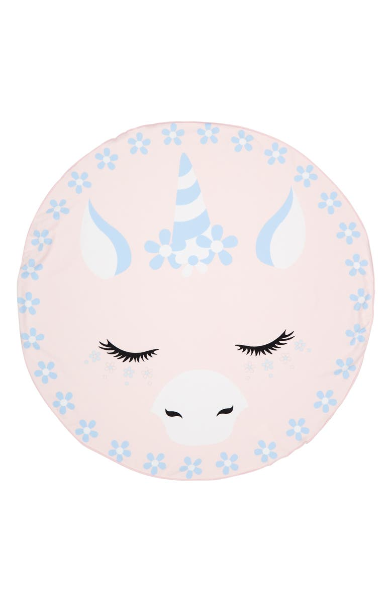 UNDER ONE SKY Unicorn Round Beach Towel, Main, color, PINK UNICORN