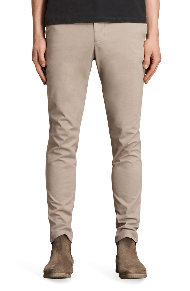 ALLSAINTS Park Skinny Fit Chino Pants, Main, color, SAND