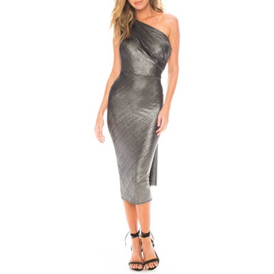 Katie May Kong One-Shoulder Metallic Cocktail Dress, Metallic