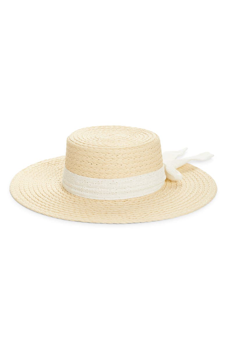 RACHEL PARCELL Eyelet Straw Boater Hat, Main, color, NATURAL