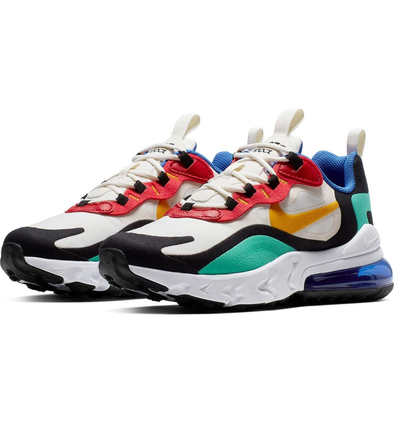 NIKE Air Max 270 React Sneaker, Main, color, PHANTOM/ GOLD/ KINETIC GREEN