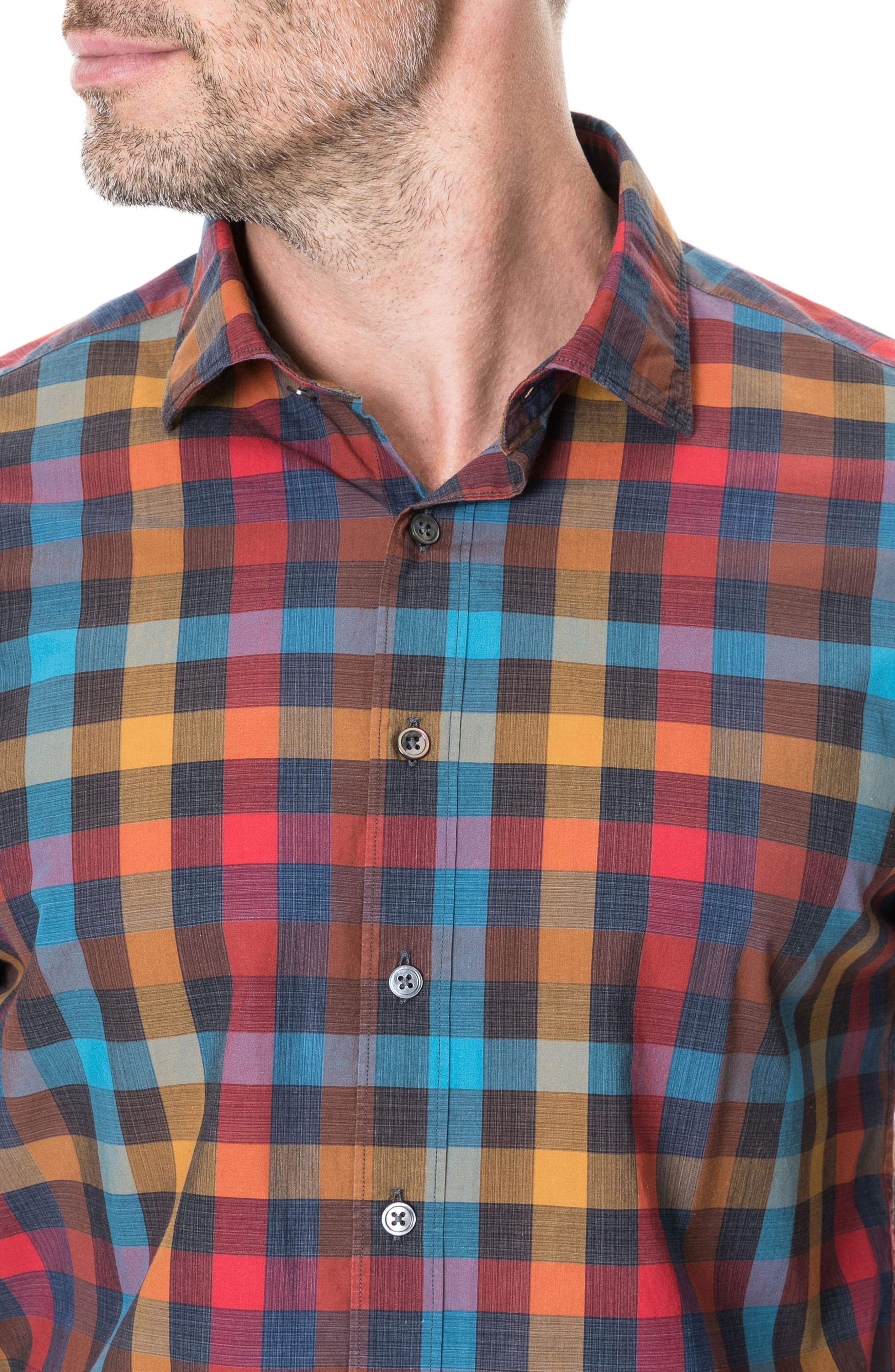 ,                             Ridgelands Regular Fit Check Sport Shirt,                             Alternate thumbnail 2, color,                             CORAL REEF