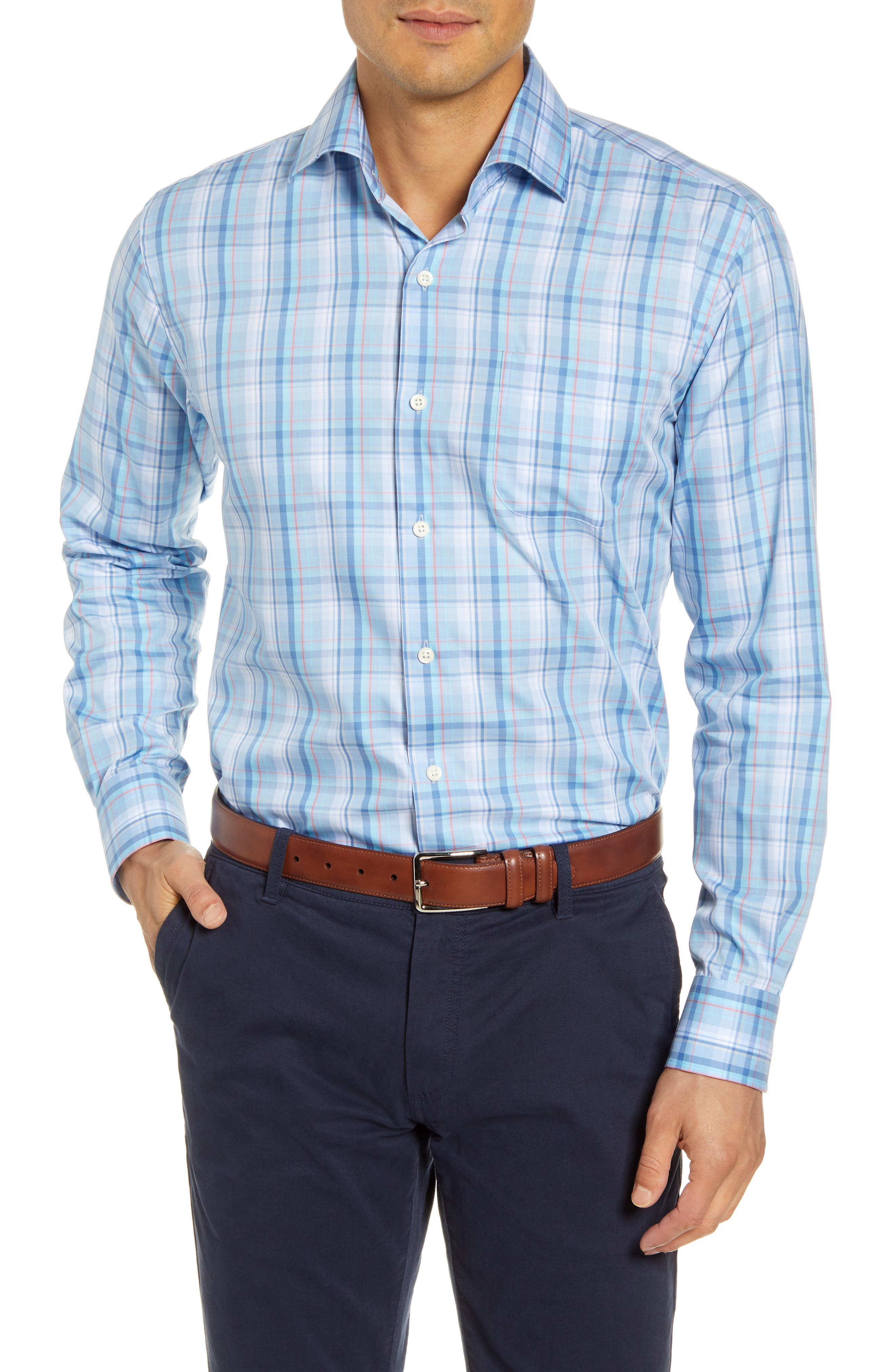 Bright plaid brings a sharp, classic look to a comfortably fitting sport shirt tailored from an extra-soft blend of cotton and silk. Style Name: Peter Millar Avery Regular Fit Plaid Cotton & Silk Button-Up Shirt. Style Number: 5953474. Available in stores.