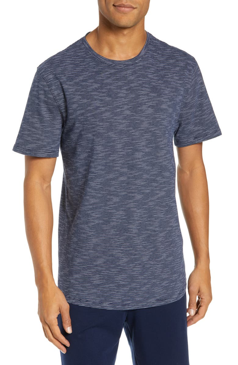NORDSTROM MEN'S SHOP Slub Stripe Lounge T-Shirt, Main, color, NAVY/ WHITE SLUB STRIPE