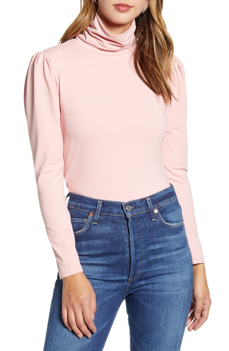 RACHEL PARCELL Puff Shoulder Turtleneck, Main, color, PINK BRIDE