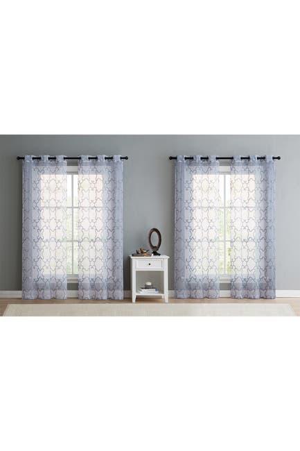 """Image of VCNY HOME Mila White Grey Embroidered Trellis Sheer Window Panels - 38"""" x 84"""" - Set of 4"""