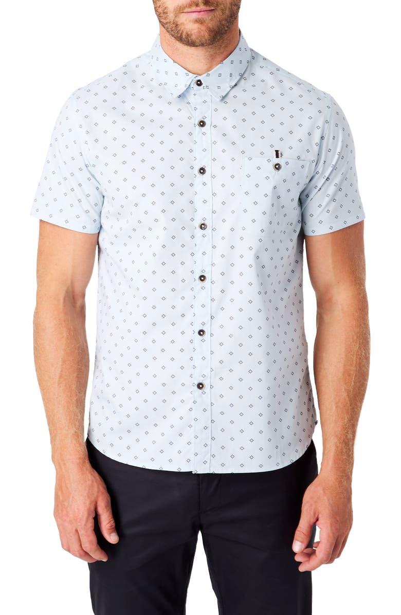 7 DIAMONDS Flux Slim Fit Short Sleeve Button-Up Shirt, Main, color, LIGHT BLUE