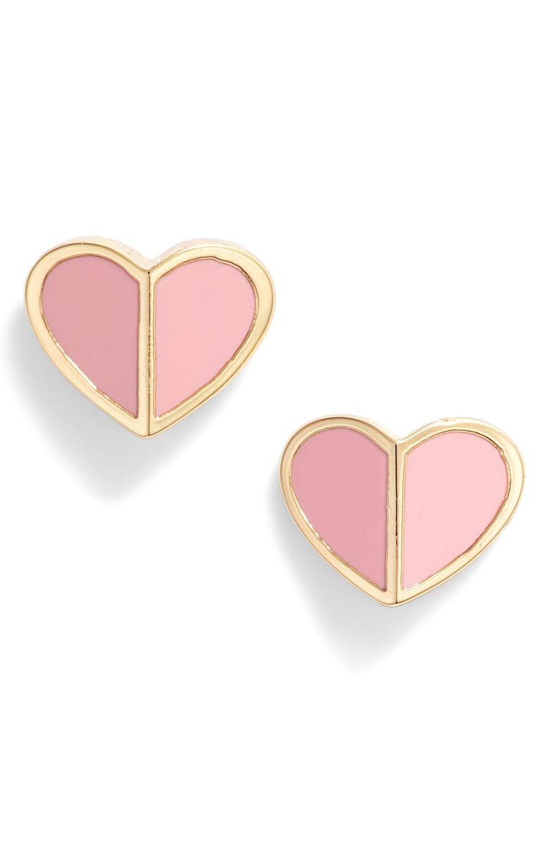 KATE SPADE NEW YORK heart stud earrings, Main, color, ROCOCO PINK