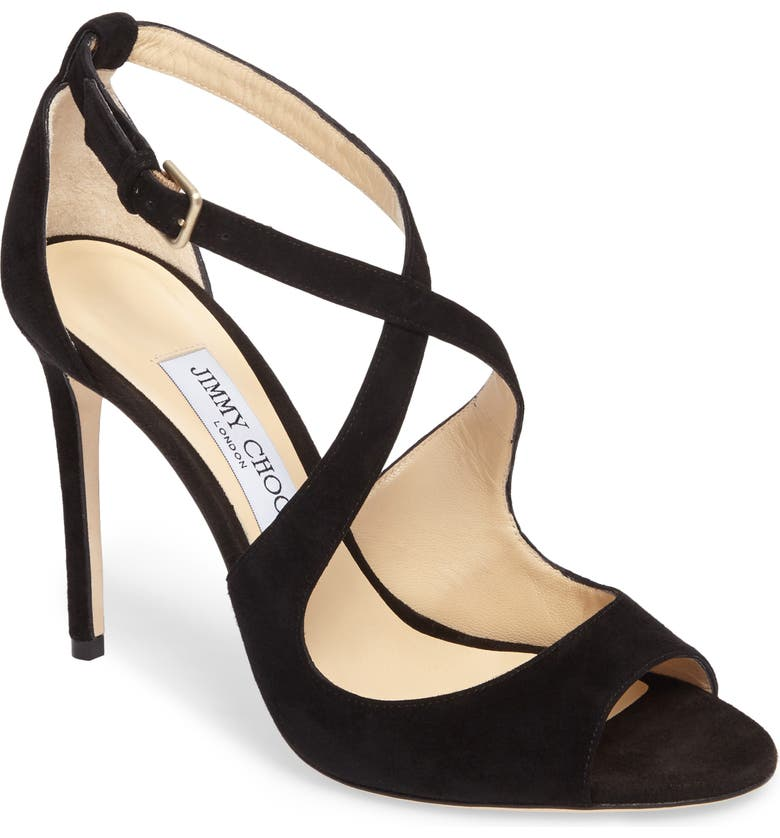 JIMMY CHOO Emily Peep Toe Sandal, Main, color, BLACK SUEDE